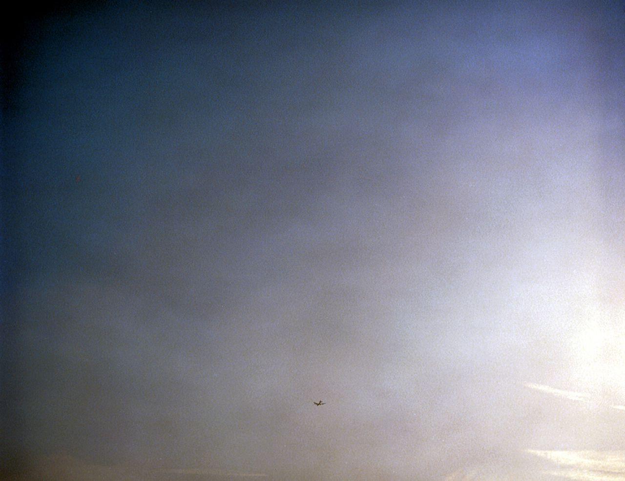 B-52 estadounidense regresando de un bombardeo en Iraq, Fairford, Inglaterra.