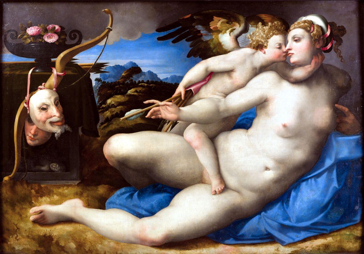 Cupido besando a Venus. Miguel Ángel