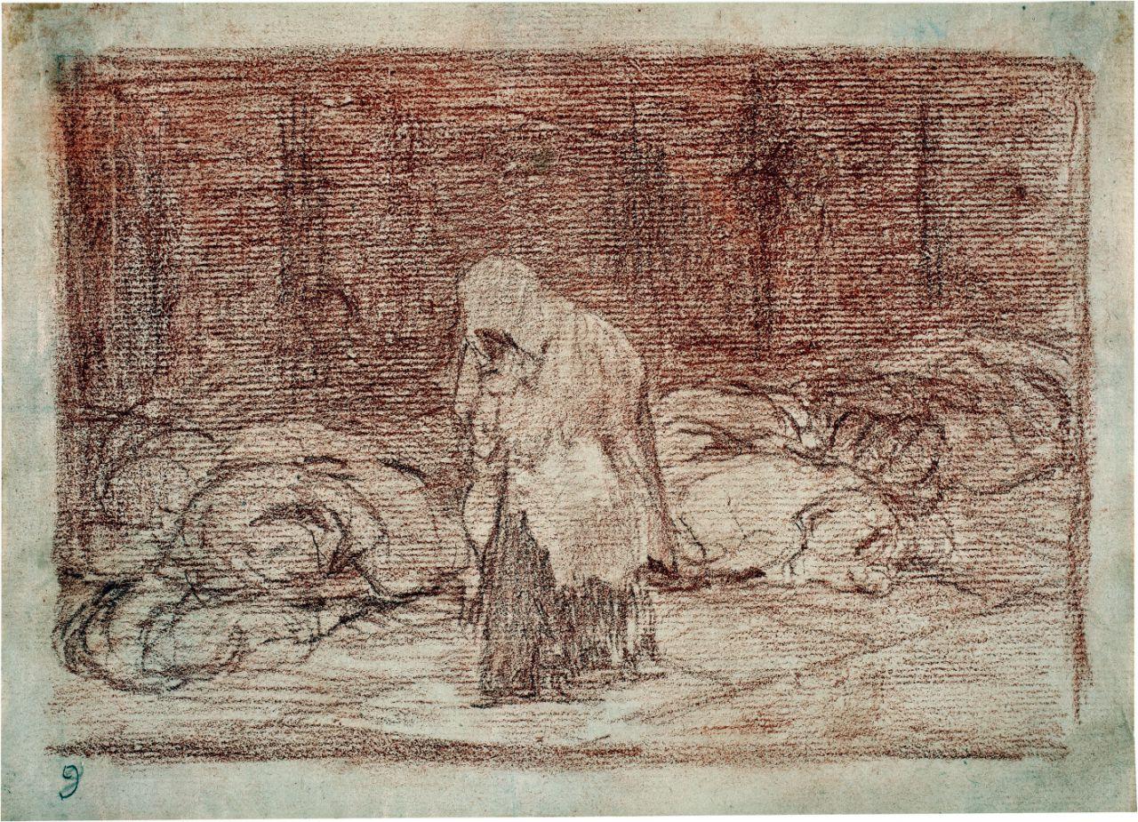 Las camas de la muerte Dibujo preparatorio para el Desastre de la guerra 62