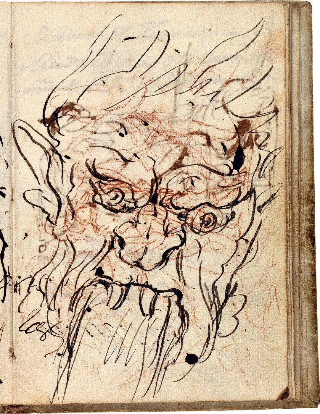 Mascarón de fuente, sobrepuesto a Aníbal vencedor, que por primera vez mira Italia desde los Alpes (estudio preparatorio)  Cuaderno italiano