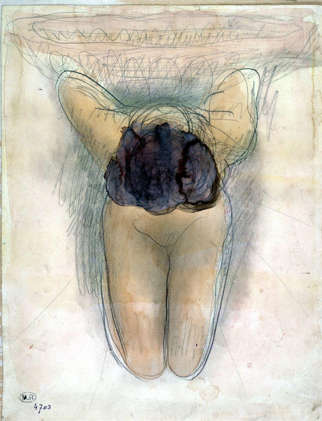 Mujer desnuda arrodillada, de frente inclinada