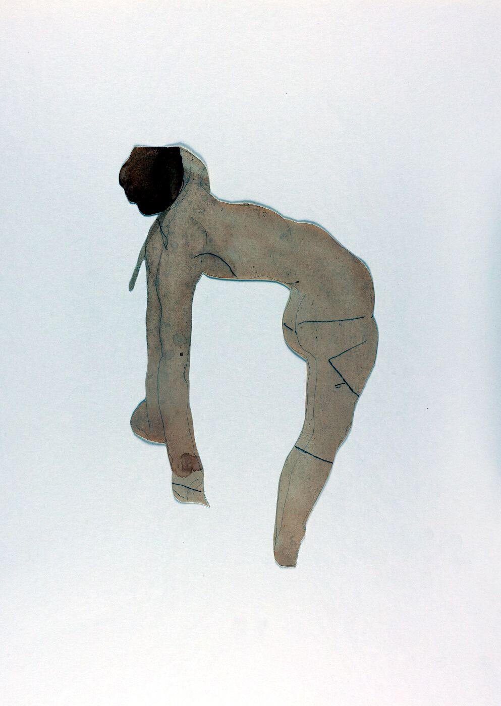 Mujer desnuda de perfil haciendo el puente