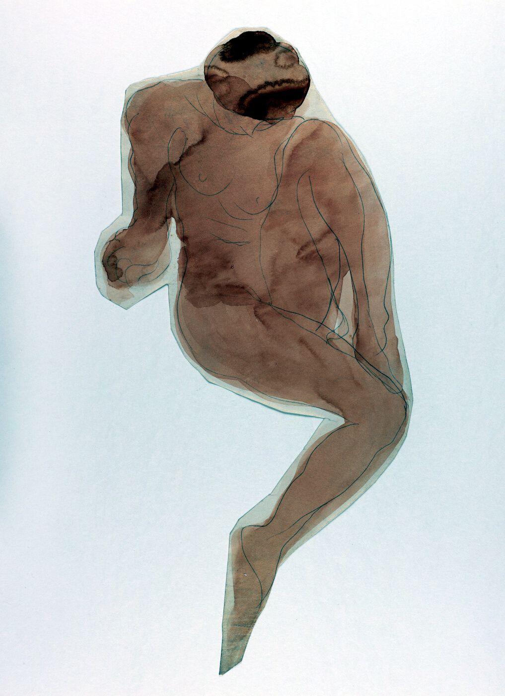 Mujer desnuda semirrecostada con una pierna doblada