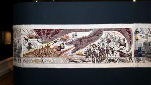 El tapiz de Juego de Tronos, elaborado por Turismo de Irlanda, se exhibe en Bayeux