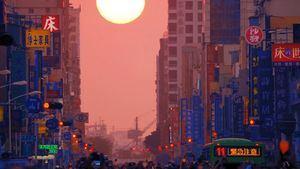 Taipéi-henge, alineamiento de la puesta del sol con las calles principales de la capital taiwanesa