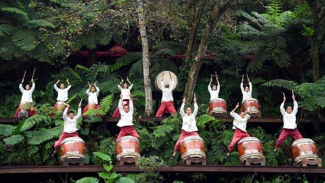 Tambores en el poblado de Maokong, Taiwán