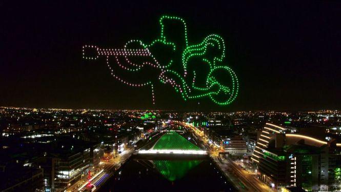500 drones iluminan el cielo de Dublín para celebrar San Patricio