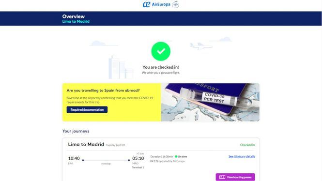 Air Europa primera aerolínea en integrar la verificación digital sanitaria del pasajero de Amadeus