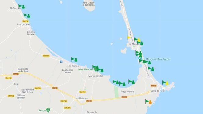 Las playas del Mar Menor que estuvieron afectadas por la anoxia ya están abiertas