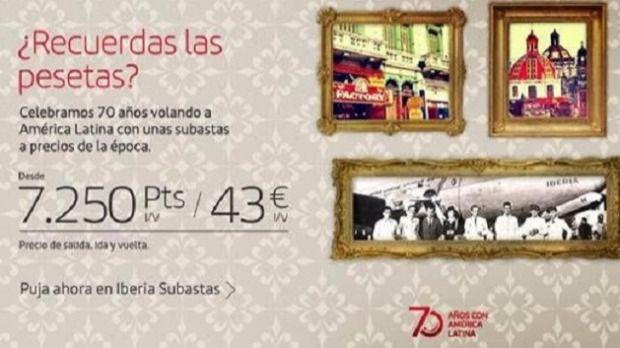 Iberia subasta vuelos en pesetas, a precios de los años 50