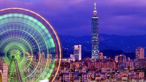 Vista nocturna de la ciudad de Taipei