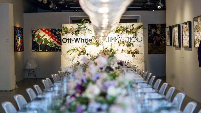 Cena con motivo de la colaboración de Off White con Jimmy Choo