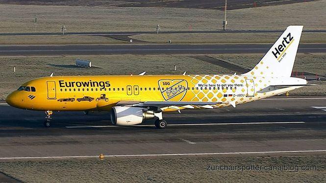 El Airbus A320 con su nueva imagen celebra el acuerdo entre Hertz y Eurowings