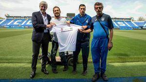 José Moro, 'El Langui', y algunos integrantes del equipo Leganés Genuine