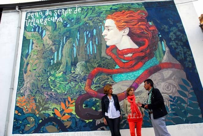 (De izquierda a derecha) La directora de Turismo de Galicia, Nava Castro, la delegada territorial de la Xunta en Lugo, Raquel Arias, y el presidente del Consorcio de Turismo de la Ribeira Sacra, Luis Fernández,